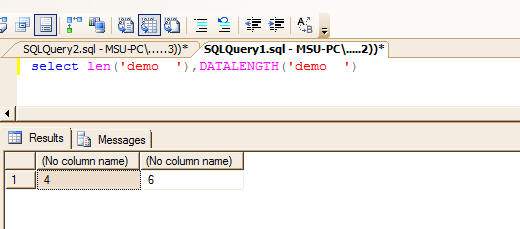 LEN function in MSSQL and it's equivalent in MySQL