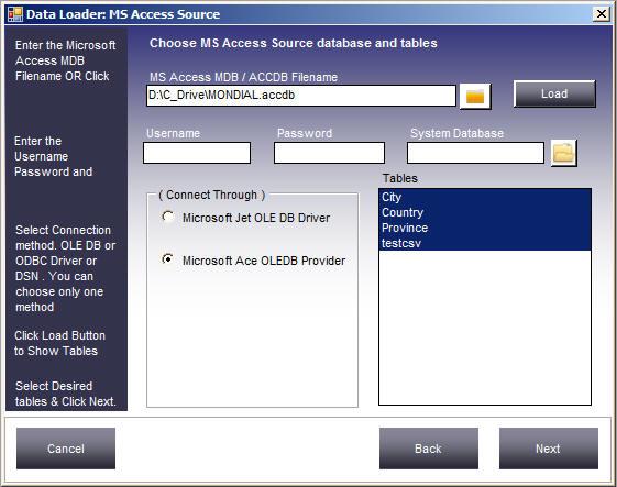Dbload : Convert MS Access to MySQL Online