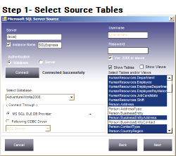 Select MSSQL tables for conversion